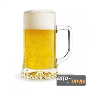 jarra de cerveza, tapas, caña y tapa, vasos de cerveza, bares de tapas