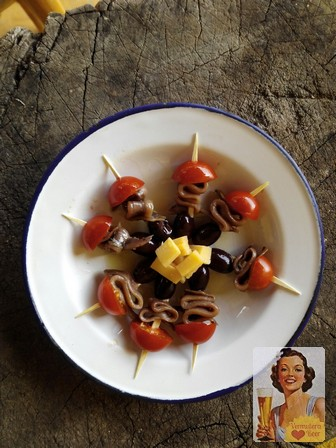 Rustic Chic Tapas anchoas, ols amsterdam, tapas con anchoas, tapas frías, banderillas ricas, tapas caseras