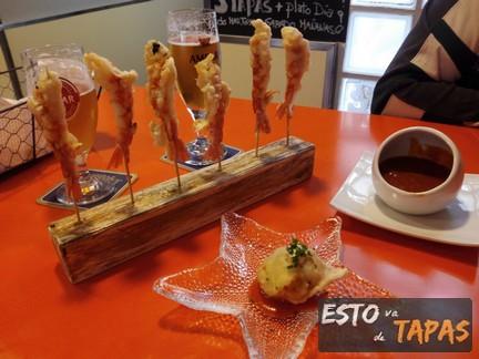 tapas zaragoza, el cañero almozara, tapas con langostino, tapas con bacalao, salsa hot